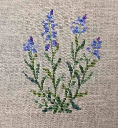 I finished this Common Milkwort a couple days ago and really love the blue and purple against the muted greens and greys. Cross Stitch Love, Cross Stitch Cards, Cross Stitch Borders, Cross Stitch Flowers, Cross Stitch Designs, Cross Stitching, Cross Stitch Patterns, Hand Embroidery Designs, Diy Embroidery