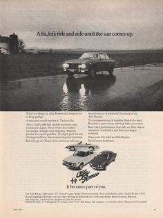 """Authentic magazine ad for Alfa Romeo, """"racing since 1911."""" A great example of vintage advertising for these European sports cars, excellent for framing! Specifically advertises the Spider Veloce convertible, Gt Veloce, and Berlina. Standard magazine size; some pages may show tearing on binding side from removal. Many other makes, models, and years available – please contact us with your favorite car!"""