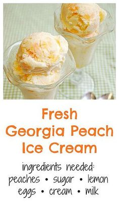 I cannot wait to make this Fresh Georgia Peach Ice Cream this summer. A super ea… I cannot wait to make this Fresh Georgia Peach Ice Cream this summer. A super easy recipe that'll keep you cool on a hot summer's day! Ice Cream Desserts, Frozen Desserts, Kitchen Aid Ice Cream, Georgia, Ice Cream Base, Cream Cream, Make Ice Cream, Cream Cake, Gourmet