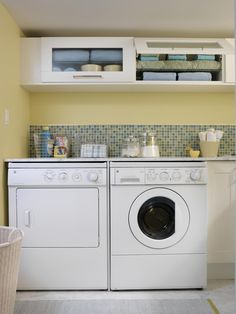 In a laundry room that gets little natural light, Sarah brought the sunshine in with a bright, lemon-yellow paint color and a gleaming backsplash. The marble countertop that runs all the way across the appliances is not only an eye-catcher, but also provides a smooth surface to fold anything from towels to T-shirts.