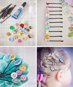 Hair pins decorated with buttons