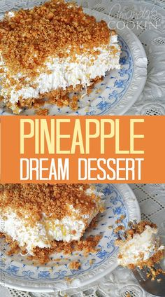 Oh my gosh, this is the BEST!! My grandma always made this and now my mom does. Guess I'll have to start making it too because it just rocks! It's called Pineapple Dream Dessert. Yum!