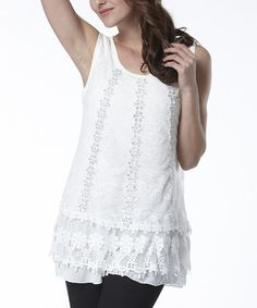 Look what I found on #zulily! White Lace Ruffle Sleeveless Top by Simply Couture #zulilyfinds