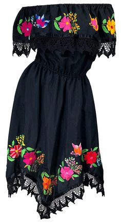 For Sale on - Boho chic / black cotton embroidered Spanish style dress! The beauty about this dress is that it can be worn two ways, as pictured. Mexican Fashion, Mexican Outfit, Mexican Dresses, Fiesta Outfit, Quince Dresses, Day Dresses, Cute Dresses, Vintage Dresses, Evening Dresses