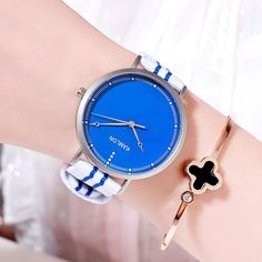 Fashion Women Wristwatch Minimalist Dial Canvas Stripe Strap Ladies Casual Quartz Watch Female Elegant Dress Clocks Montre femme Outfit Accessories From Touchy Style. Cheap Watches, Casual Watches, Casual Wear Women, Classy Chic, Metal Jewelry, Quartz Watch, Clocks, Fashion Women, Minimalist