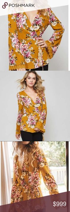 Coming soon!!! Mustard boho Floral wrap top LIKE this listing to be notified when this arrives Sweet Sassy Vines Boutique Tops