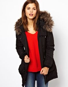 Warehouse faux fur hooded parka black