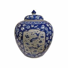 Beautiful Blue and White Porcelain Medallion Plum Shaped Ginger Jar Fish Motif