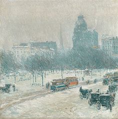 Childe Hassam (American, 1859–1935). Winter in Union Square, 1889–90. The Metropolitan Museum of Art, New York. Gift of Ethelyn McKinney, in memory of her brother, Glenn Ford McKinney, 1943 (43.116.2) #snow