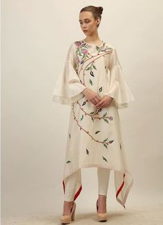 Beautiful Silk all over multicolor embroidered C-cut kurti with bell sleeves.