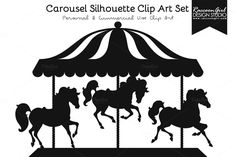 CAROUSEL AND HORSES SILHOUETTE CLIP ART PRINTABLE