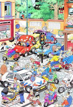 1996 - Politie Amsterdam (Colored illustration BV). Original Comic Art. JAN VAN HAASTEREN - born 1936 - The Netherlands Politie Amsterdam Illustration for poster - Mixed media on paper - 42x29 cm Publication 1996.