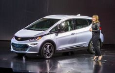 General Motors Chairman and CEO Mary Barra introduces the 2017 Chevrolet Bolt EV at its world debut during the Consumer Electronics Show Wednesday, January 6, 2016 in Las Vegas, Nevada. The Bolt EV offers more than 200 miles of range on a full charge at a price below $30,000 after Federal tax credits. The Bolt EV features advanced connectivity technologies and seamless integration. The Bolt EV will begin production by the end of 2016. (Photo by Dan MacMedan for Chevrolet)
