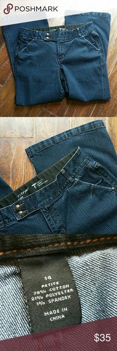 Lane Bryant Jeans 14 Nice jeans with Tighter Tummy Technology lots of strech and a dark wash hems are in great condition  Inseam 29 rise 12 Lane Bryant Jeans Flare & Wide Leg