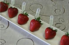 Just imagine, it's hot outside, you are at a wedding reception, and someone tray passes you a Champagne Injected Strawberry!The sky is the limit as to what you can inject strawberries with.  Whether it be champagne, Grand Marnier, margarita, lemonade, or your favorite liquer your guests are sure to be pleased.  Perfect for graduation parties, bridal showers or any special event.