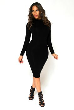 This killer dress is perfect for breaking hearts and taking names. Soft, stretchy bodycon dress is midi length and features full sleeves and a high neckline. No closures are included.