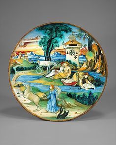 Dish (coppa) probably workshop of Guido Durantino (Italian (Urbino), active 16th century) Date: ca. 1525 Medium: Maiolica (tin-glazed earthenware) Dimensions: Diam. 9 15/16 in. (25.3 cm) Classification: Ceramics-Pottery Credit Line: Robert Lehman Collection, 1975 Accession Number: 1975.1.1088 On view in Gallery 950