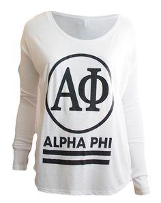 Alpha Phi Circle Long Sleeve by Adam Block Design   Custom Greek Apparel & Sorority Clothes   www.adamblockdesign.com