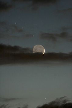 scenery, skies, evening, moons, clouds