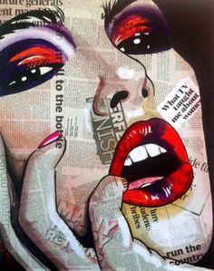 23 new ideas pop art painting ideas projects mixed media Art And Illustration, Illustration Fashion, Pop Art Drawing, Art Drawings, Desenho New School, Pop Art Face, Pop Art Lips, Newspaper Art, Pop Art Wallpaper