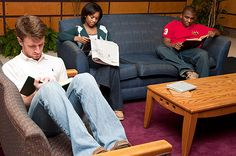 Reading in Mississippi State's Mitchell Memorial Library can be a comfortable experience with the right book and atmosphere.