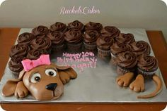 Cake Ideas and Party Themes You can also use chocolate frosted cupcakes to make a puppy cake! My daughter would LOVE this! Puppy Cupcakes, Puppy Cake, Doggie Cake, Kitty Cupcakes, Cupcakes Design, Cupcake Cake Designs, Pull Apart Cupcake Cake, Pull Apart Cake, Cupcake Torte