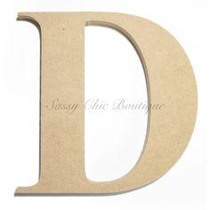 "Unfinished Wooden Uppercase Letter ""D"" - Times Font"