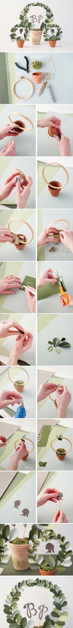 Paper leaf topiary diy