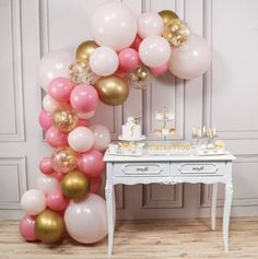 PartyWoo Pink and Gold Balloons, 44 pcs Light Pink Balloons, Gold Metallic Balloons, Fuchsia Balloons and Gold Confetti Balloons for Pink and Gold Baby Shower, 4 pcs 18 In Jumbo Pink Balloons Included Gold And Pink Balloons, Glitter Ballons, Metallic Balloons, Gold Confetti Balloons, White Balloons, Latex Balloons, Balloon Arch Diy, Balloon Garland, Table Garland
