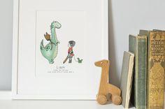 Dinosaur Dragon Art Kids Nursery Picture by DaisyandBumpArt