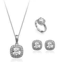 Silver Tone 200 Carat Cushion Shaped Cubic Zirconia Pendant Necklace Stud Earrings Ring Jewelry Set >>> Details can be found by clicking on the image.