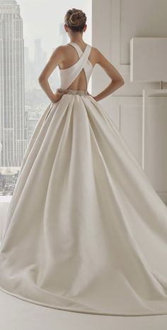 Emmy DE * cross-back wedding dress ~ Rosa Clara 2015 Bridal Collection 2015 Wedding Dresses, Wedding Attire, Bridal Dresses, Wedding Gowns, Bridesmaid Dresses, Sophisticated Bride, Beautiful Gowns, Dream Dress, Bridal Collection