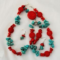 Genuine Turquoise Coral Nugget Necklace Earrings Set Faux Red Cinnabar Silver Accents from #AntikAvenue on #RubyLane
