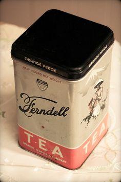 Vintage Ferndell Tea Tin A black square lid sets on top of this charming vintage Orange Pekoe Tea tin balanced by the orangish band on the