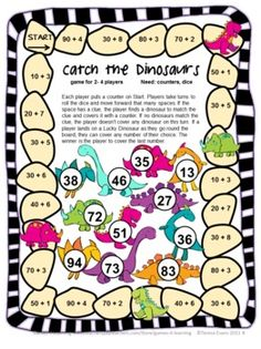 Catch the Dinosaurs Place Value Game by Games 4 Learning - This is a set of 15 printable Place Value Games for 2 Digit Numbers. Cute and fun! $