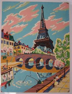 "New ""Vintage Style"" Paint by Number Paris Greeting Card by writeables Vintage Paris, French Vintage, Vintage Style, Vintage Inspired, Paris Kunst, Paris Art, Number Art, Paint By Number, Tour Eiffel"