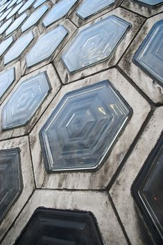 Concrete tiles from SmithField Market in London. Light from underneath.