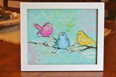 Scribbly Birds Mixed Media Canvas-Surround Yourself With Friends | Mel's Art Journal