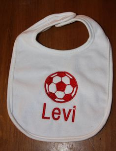 Personalized baby bib with appliqued soccer ball by KenaKreations, $13.00