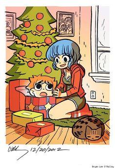 Scott Pilgrim holiday card by Bryan Lee O'Malley