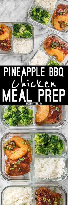 This Pineapple BBQ Chicken Meal Prep includes sweet and tangy chicken, rich and savory coconut rice, and tender broccoli florets. @budgetbytes