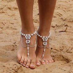 Almeta Dainty Pearl Barefoot Sandals
