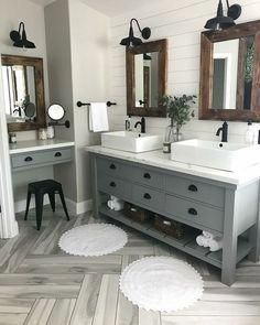 Modern Farmhouse Master Bath Renovation - Obsessed with our vanity spaces! : Modern Farmhouse Master Bath Renovation - Obsessed with our vanity spaces! Grey Bathrooms, Beautiful Bathrooms, Master Bathrooms, Bathroom Mirrors, Bathroom Lighting, Marble Bathrooms, Boho Bathroom, Neutral Bathroom, Luxury Bathrooms