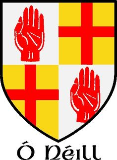 Arms are those of O'Neill, Earl of Tyrone, that show quartering of the ancient O'Neill bearings with those of Ulster (taken from the arms of Burke).