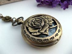 Watch Necklace  Antique Bronze Floral Pocket by ArtInspiredGifts, $32.00