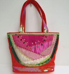 Watermelon Patch Bag in Crazy Quilt, OOAK. $144.99, via Etsy.
