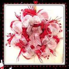 Red, white, & silver Valentines wreath $45 hsanders_9@yahoo.com