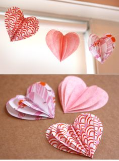 Valentine's Day Crafts | 18 Valentine's Day Heart Crafts » DIY 3D paper heart garland (via ...
