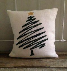 Burlap Pillow- Green Christmas Tree, Christmas/Holiday decor, Christmas pillow