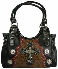 Western Style Purse Tooled Faux Leather Hobo Bag with Three Crosses, Rhinestones and Conchos